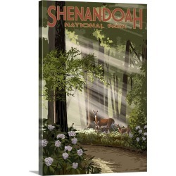 Large Gallery-Wrapped Canvas Wall Art Print 16 x 24 entitled Shenandoah National Park, Virginia - Deer and Fawns: Retro Tr... found on Bargain Bro India from Great Big Canvas - Dynamic for $214.99