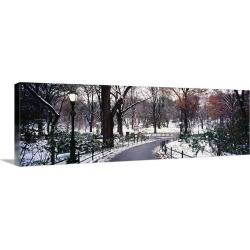 Large Gallery-Wrapped Canvas Wall Art Print 36 x 12 entitled Walkway in a park, Central Park, Manhattan, New York City, Ne...