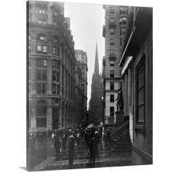 Large Gallery-Wrapped Canvas Wall Art Print 19 x 24 entitled A view down Wall Street in New York City, 1905