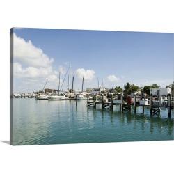 Large Gallery-Wrapped Canvas Wall Art Print 24 x 16 entitled Marina, Key West, Florida