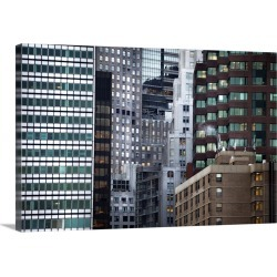 Large Solid-Faced Canvas Print Wall Art Print 30 x 20 entitled The Financial District in Manhattan at dusk from the Brookl...