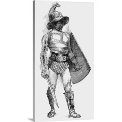 Large Gallery-Wrapped Canvas Wall Art Print 19 x 36 entitled A Samnite, a gladiator in full armor carrying sword and shield