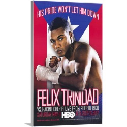 Large Gallery-Wrapped Canvas Wall Art Print 15 x 24 entitled Felix Trinidad vs Hacine Cherifi (2002)