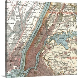 Large Solid-Faced Canvas Print Wall Art Print 20 x 20 entitled Hudson River and New York - Vintage Map