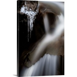 Large Solid-Faced Canvas Print Wall Art Print 20 x 30 entitled Water Runs In A Creek As Icicles Form, Colorado Rockies, CO