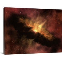 Large Solid-Faced Canvas Print Wall Art Print 40 x 30 entitled A young star surrounded by a dusty protoplanetary disk