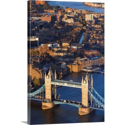 Large Solid-Faced Canvas Print Wall Art Print 20 x 30 entitled England, London, City of London, Tower Bridge, View from th...