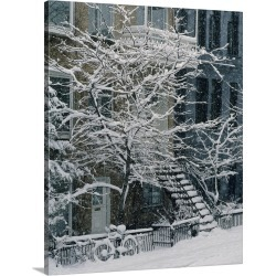 Large Gallery-Wrapped Canvas Wall Art Print 19 x 24 entitled Drolet Street In Winter, Montreal, Quebec, Canada