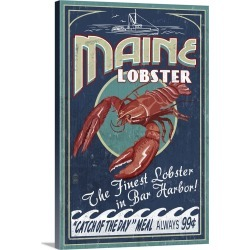 Large Gallery-Wrapped Canvas Wall Art Print 16 x 24 entitled Lobster Vintage Sign - Bar Harbor, Maine: Retro Travel Poster