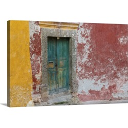 Large Gallery-Wrapped Canvas Wall Art Print 24 x 16 entitled Colorful Door