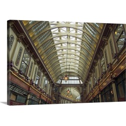 Large Solid-Faced Canvas Print Wall Art Print 30 x 20 entitled Roof, Leadenhall Market, City of London, London, England