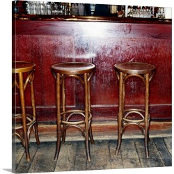 Large Solid-Faced Canvas Print Wall Art Print 20 x 20 entitled Bar Stools in Pub