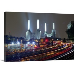 Large Solid-Faced Canvas Print Wall Art Print 30 x 20 entitled London Lights - Battersea, London, UK