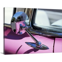 Large Gallery-Wrapped Canvas Wall Art Print 24 x 17 entitled Close-up of a wing mirror and reflection on a pink Cadillac car found on Bargain Bro India from Great Big Canvas - Dynamic for $239.99