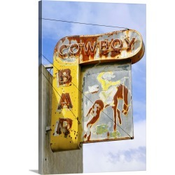 Large Solid-Faced Canvas Print Wall Art Print 20 x 30 entitled Old bar sign, Montana
