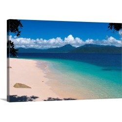 Large Solid-Faced Canvas Print Wall Art Print 30 x 20 entitled Beach on Fitzroy Island, Queensland, Australia