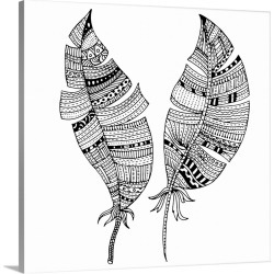Large Solid-Faced Canvas Print Wall Art Print 20 x 20 entitled Tribal Patterned Feathers