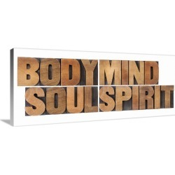 Large Gallery-Wrapped Canvas Wall Art Print 30 x 13 entitled Body, Mind, Soul, Spirit - Vintage Letterpress Wood Blocks found on Bargain Bro India from Great Big Canvas - Dynamic for $239.99