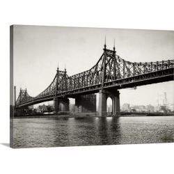 Large Solid-Faced Canvas Print Wall Art Print 30 x 20 entitled General View Of The Queensboro Bridge