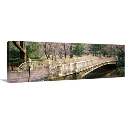 Large Gallery-Wrapped Canvas Wall Art Print 36 x 12 entitled Arch bridge in a park, Central Park, Manhattan, New York City...
