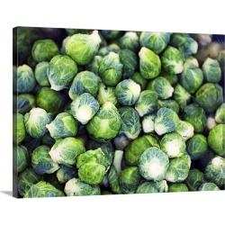 Large Solid-Faced Canvas Print Wall Art Print 40 x 30 entitled Bright Green Fresh Brussels Sprouts