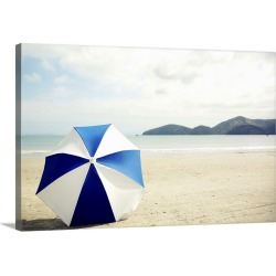 Large Solid-Faced Canvas Print Wall Art Print 30 x 20 entitled Umbrella on sand, Brazil.