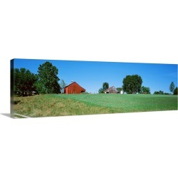 Large Gallery-Wrapped Canvas Wall Art Print 48 x 15 entitled Barn in a field, Missouri