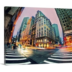 Large Gallery-Wrapped Canvas Wall Art Print 24 x 19 entitled Light trails in New York City