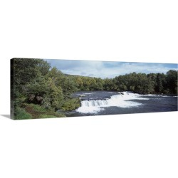Large Gallery-Wrapped Canvas Wall Art Print 36 x 12 entitled Waterfall in a forest, Katmai National Park, Alaska