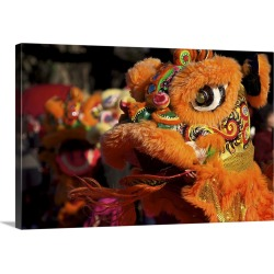 Large Solid-Faced Canvas Print Wall Art Print 30 x 20 entitled Chinese lion dance