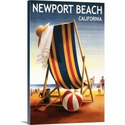 Large Solid-Faced Canvas Print Wall Art Print 20 x 30 entitled Newport Beach, California, Beach Chair and Ball