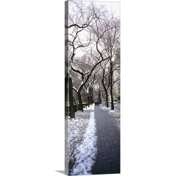 Large Gallery-Wrapped Canvas Wall Art Print 12 x 36 entitled Walkway in a park, Central Park, Manhattan, New York City, Ne...