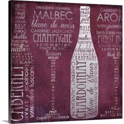 Large Solid-Faced Canvas Print Wall Art Print 20 x 20 entitled Vino Lingo II