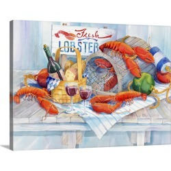 Large Gallery-Wrapped Canvas Wall Art Print 24 x 18 entitled Lobsters Galore