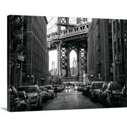 Large Gallery-Wrapped Canvas Wall Art Print 30 x 23 entitled Sidestreet with a view of the Manhattan Bridge in New York City