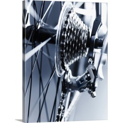 Large Gallery-Wrapped Canvas Wall Art Print 23 x 30 entitled Close up of bicycle gears