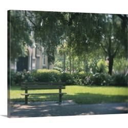 Large Solid-Faced Canvas Print Wall Art Print 30 x 24 entitled Empty bench in a park, Forsyth Park, Georgia