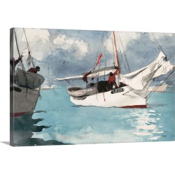 Large Gallery-Wrapped Canvas Wall Art Print 24 x 15 entitled Fishing Boats, Key West
