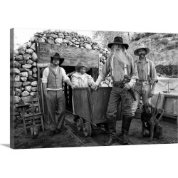 Large Gallery-Wrapped Canvas Wall Art Print 24 x 16 entitled Gold miners in front of a mine shaft found on Bargain Bro India from Great Big Canvas - Dynamic for $214.99