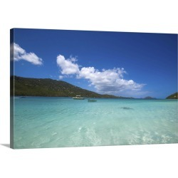 Large Solid-Faced Canvas Print Wall Art Print 30 x 20 entitled A Caribbean beach with turquoise waters