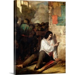 Large Solid-Faced Canvas Print Wall Art Print 30 x 40 entitled The Barricade in 1848 or, The Injured Insurgent, 1848-52