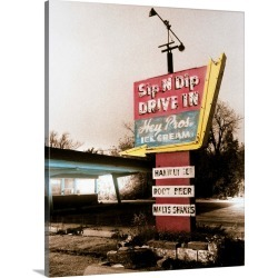 Large Gallery-Wrapped Canvas Wall Art Print 16 x 20 entitled Vintage Drive In Sign
