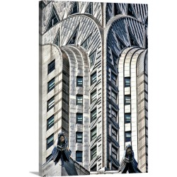 Large Gallery-Wrapped Canvas Wall Art Print 20 x 30 entitled The top of the Chrysler Building in New York City
