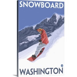 Large Solid-Faced Canvas Print Wall Art Print 20 x 30 entitled Snowboard Washington: Retro Travel Poster