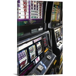 Large Solid-Faced Canvas Print Wall Art Print 20 x 30 entitled Slot machines at an airport, McCarran International Airport...