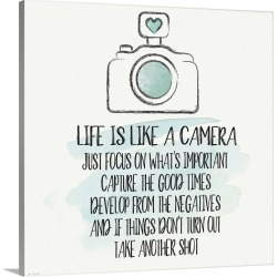 Large Gallery-Wrapped Canvas Wall Art Print 20 x 20 entitled Life is Like a Camera