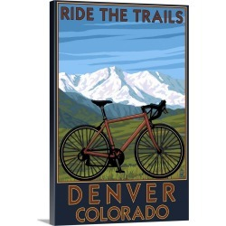 Large Solid-Faced Canvas Print Wall Art Print 20 x 30 entitled Denver, Colorado - Mountain Bike Scene: Retro Travel Poster