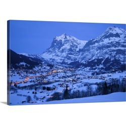 Large Solid-Faced Canvas Print Wall Art Print 30 x 20 entitled Grindelwald, Wetterhorn mountain, Bernese Oberland, Swiss A...