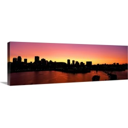 Large Gallery-Wrapped Canvas Wall Art Print 36 x 12 entitled Silhouette of buildings at dusk, Montreal, Quebec, Canada 2010