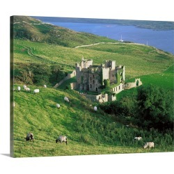 Large Solid-Faced Canvas Print Wall Art Print 30 x 24 entitled Clifden Castle, Co Galway, Ireland; 19th Century Gothic Rev...